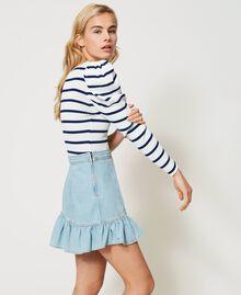 Denim miniskirt with flounce Light Denim Woman 211TT2375-02
