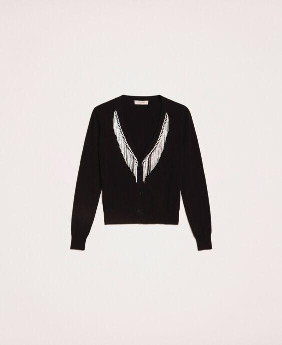 Cardigan with rhinestone fringes