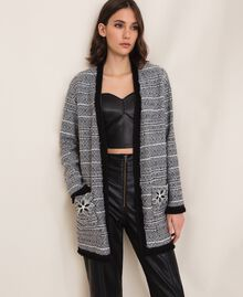 Long tweed jacket with embroidery Black Woman 201LB23BB-0T