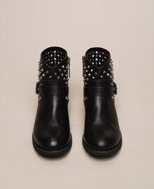 Biker boots with rhinestones and logo Black Woman 201MCP040-05