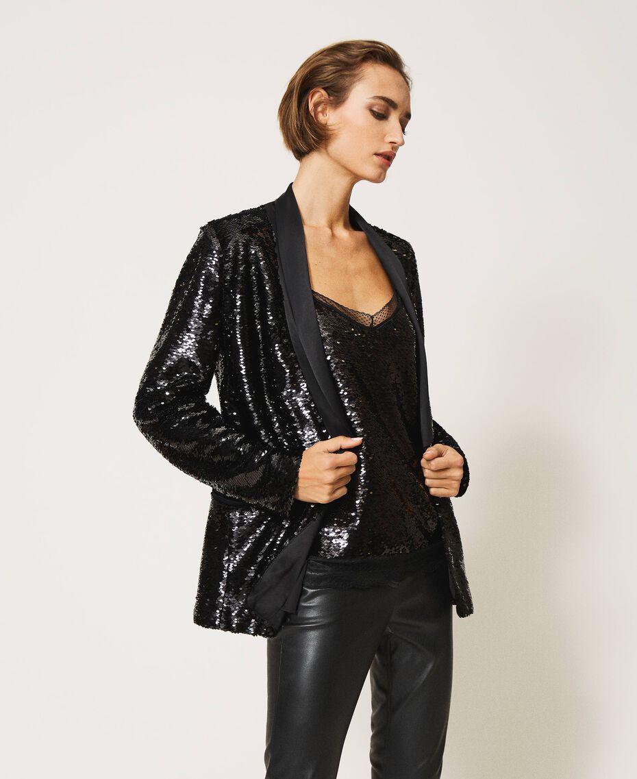 Full sequin jacket Black Woman 202TP2110-02