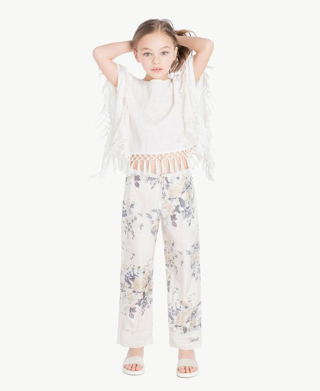 Flowers print trousers Flowers Print / Light Smoke Grey Child GS82E2-05