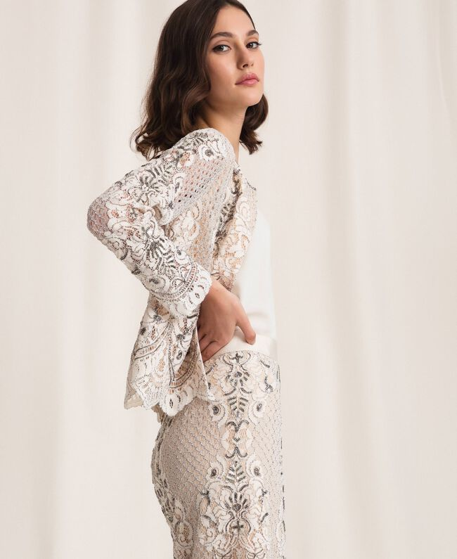 Lace jacket with embroidery Ivory Woman 201TP2460-04