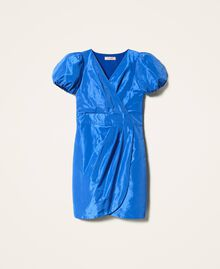 Taftkleid mit Faltenwurf Dunkles Kornblumenblau Frau 202TP2582-0S