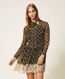 Robe en crépon avec imprimé de chaînes Imprimé Grande Chaîne Noir / Ivoire Femme 202TT221C-01