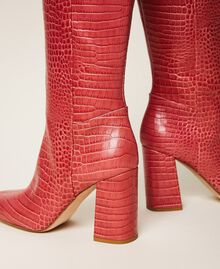 "Leather boots with crocodile print ""Peach Blossom"" Pink Croc Print Woman 202TCP07C-04"