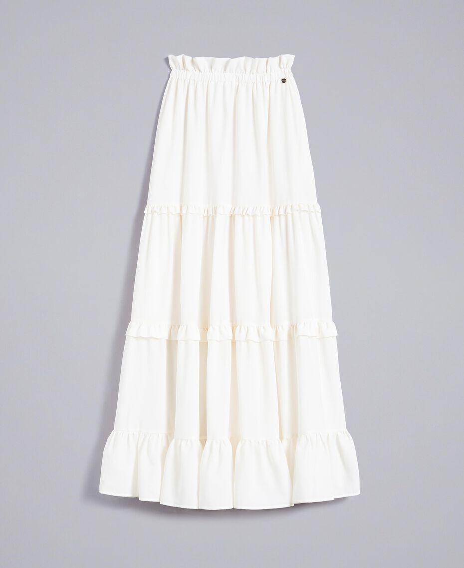 Crêpe de Chine long skirt Mother Of Pearl Woman SA82H7-0S