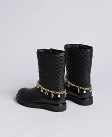 Leather boots with charm chain Black Woman CA8PLW-03