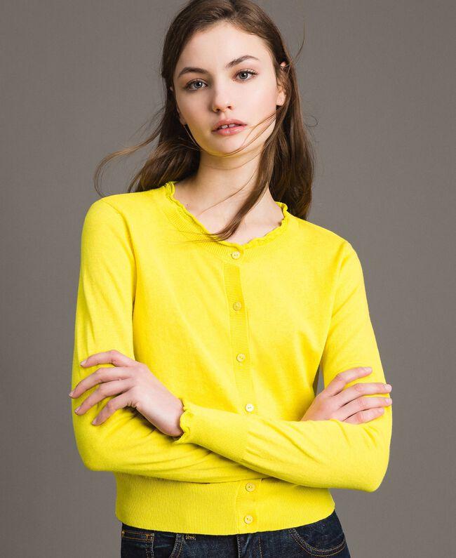Cashmere blend mandarin collar top Yellow Woman 191TP306A-01