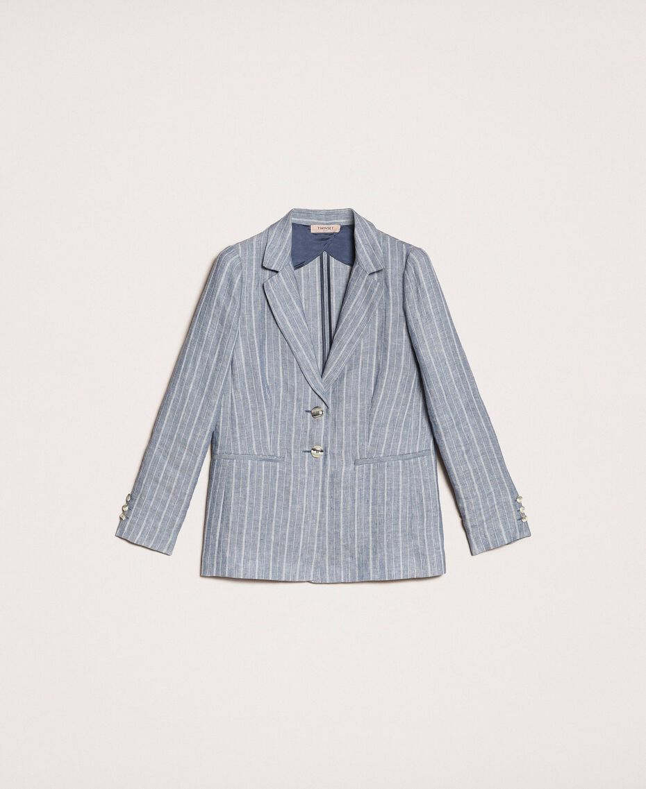 Double breasted pin stripe linen blazer Blue Pin / Antique White Stripes Woman 201TT2303-0S