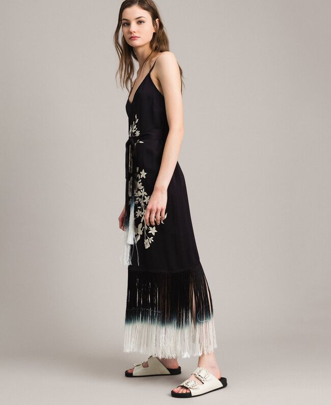 6ae761ba0b1 Robe longue avec broderies florales et franges Noir Femme 191TT2134-02