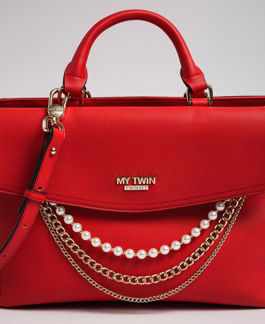 Faux leather shopper with pearls and chains Poppy Red Woman 192MA7053-02