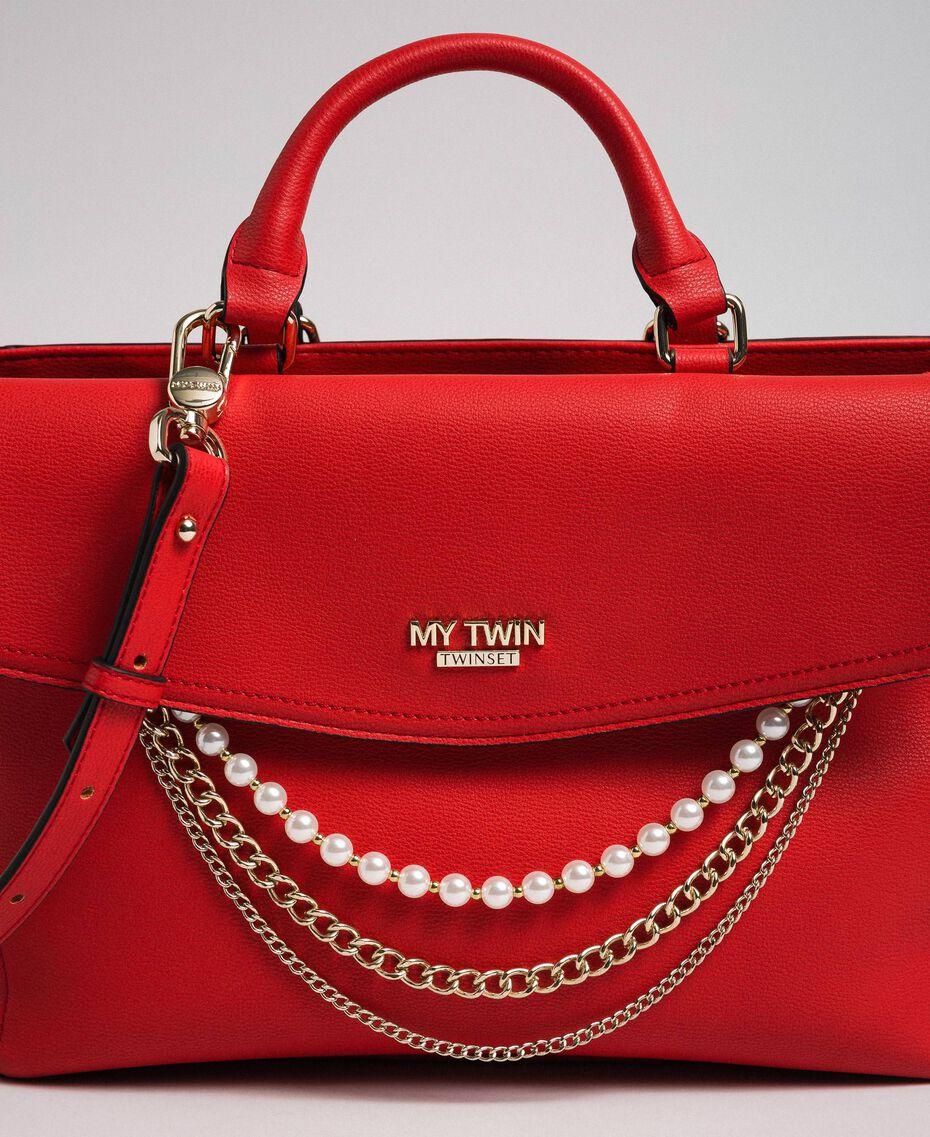Sac cabas en similicuir avec perles et chaînes Rouge Coquelicot Femme 192MA7053-02