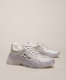 Suede running shoes with rhinestones White Woman 201MCT042-04