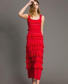 """Robe longue en crêpe georgette volanté Rouge """"Rouge à Lèvres"""" Femme 191TT3022-02"""