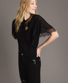 Georgette and lace shrug Black Woman 191TP2373-03