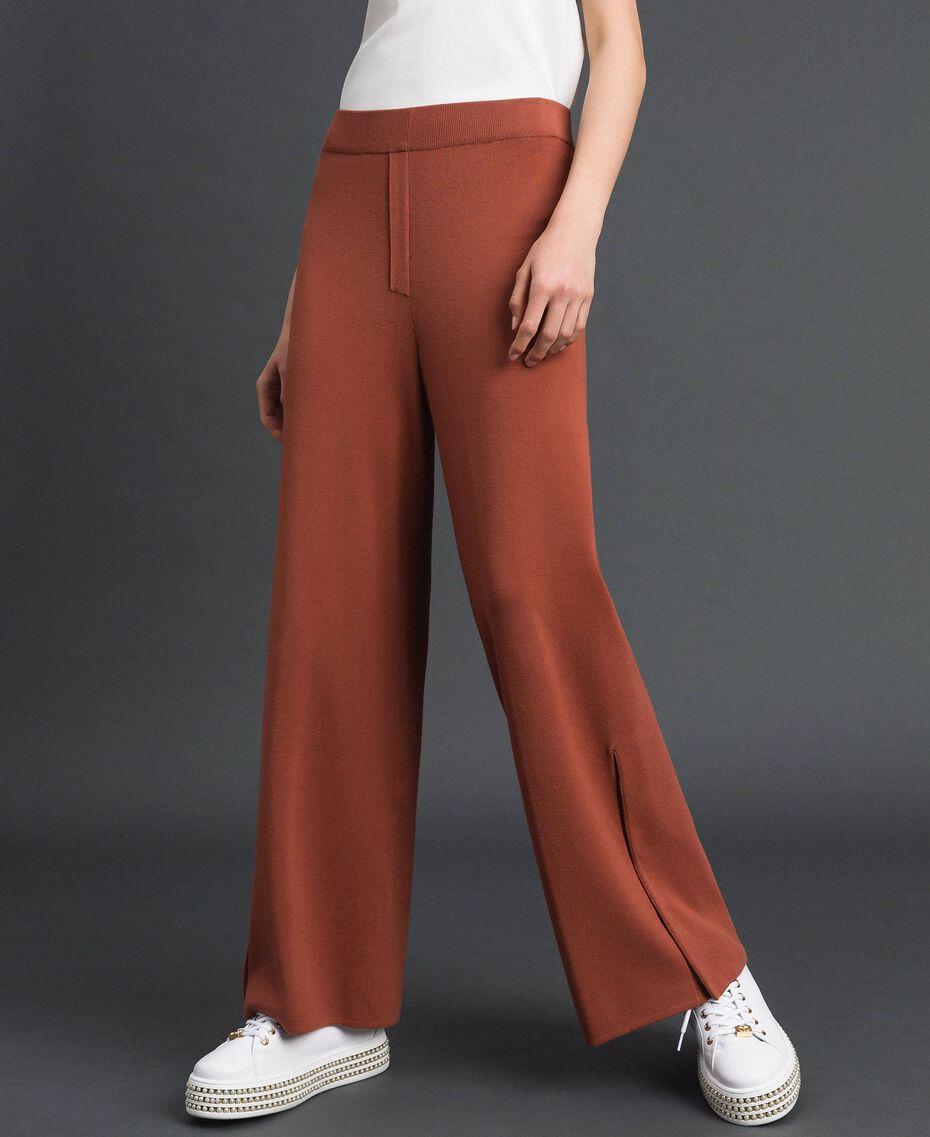 Pantalon palazzo en maille Marron «Chicness» Femme 192LI3NFF-02