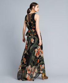 "Long chiffon dress with floral print Black Tulip and ""Tea Garden"" Print Woman TA825P-04"