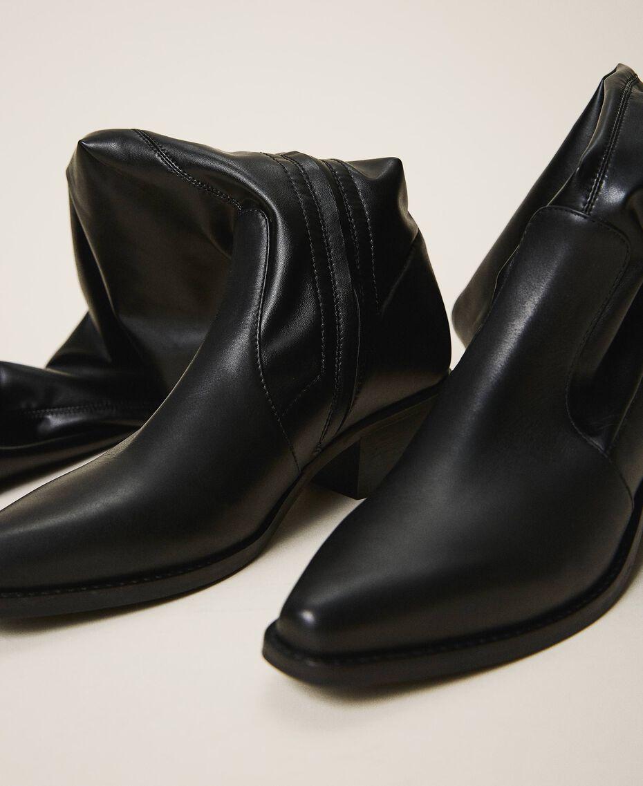 Cапоги-ботфорты с голенищем из ткани-стрейч Черный женщина 202TCP170-01