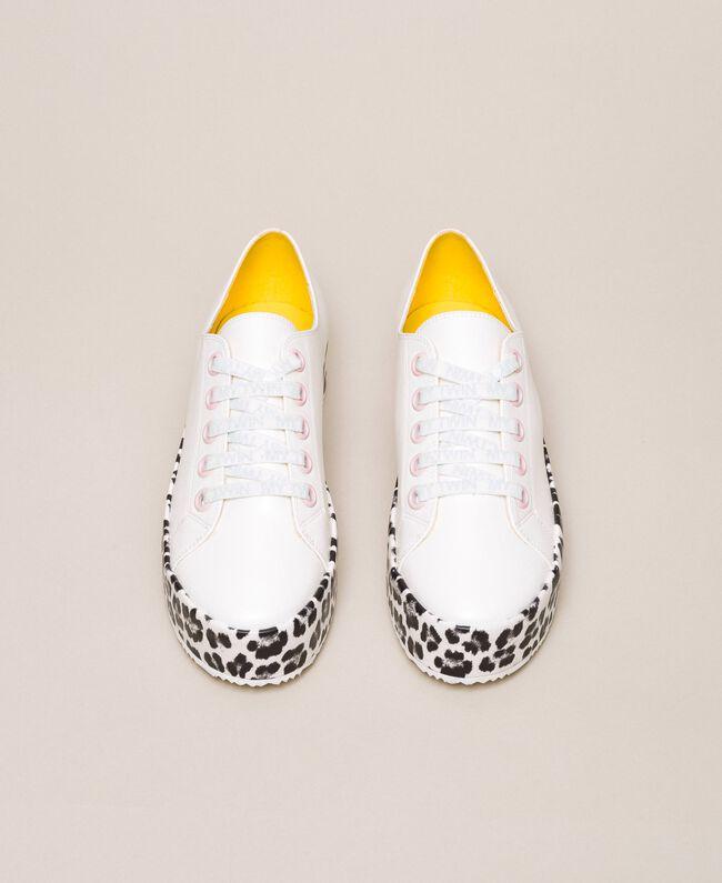 Animal print platform trainers Two-tone Vanilla / Animal Print Woman 201MCP140-05