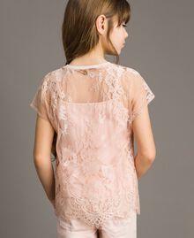 Jerseystoff-Top und Spitzenbluse Blütenrosa Kind 191GJ2741-03