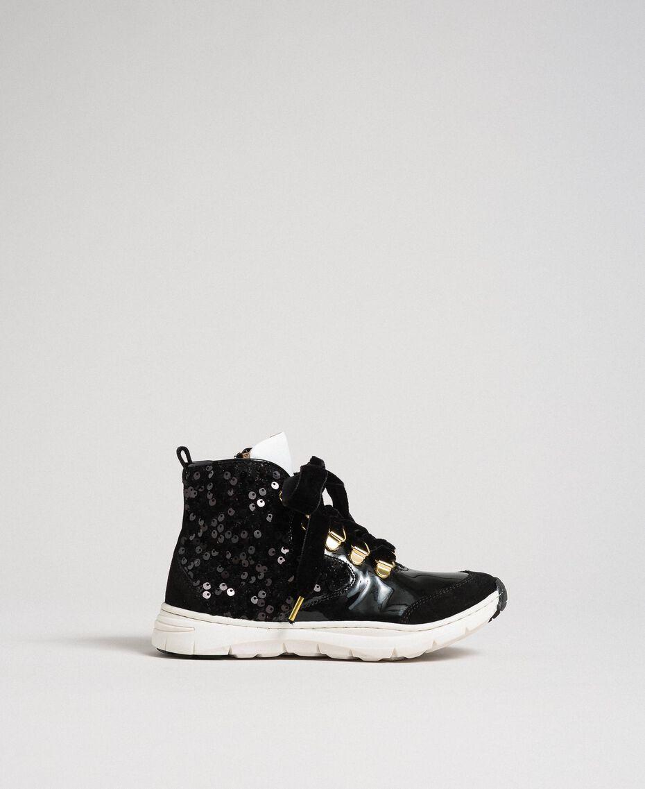 Sneakers alte in pelle con paillettes Nero Bambina 192GCJ046-02