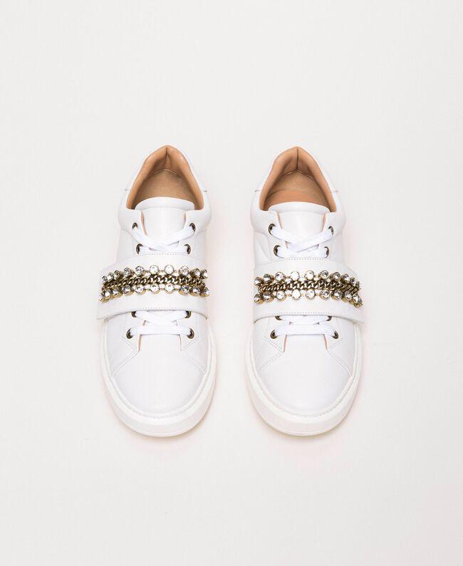 Sneakers aus Leder mit Chatons Weiß Frau 201TCP094-05