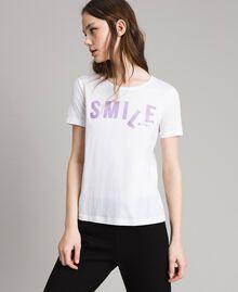T-shirt with glitter print White Woman 191LB23LL-01