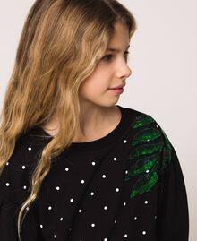 "Plush dress with polka dots and poplin Two-tone Polka Dot Print / ""Papers"" White Child 201GJ2320-04"