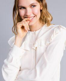 Camicia in misto seta con ruches Bianco Neve Donna TA823E-04