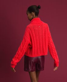 Cable knit mohair jumper Coral Pink Woman 192TT3271-03