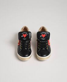 Leather trainers with hearts and studs Black Child 192GCJ012-04