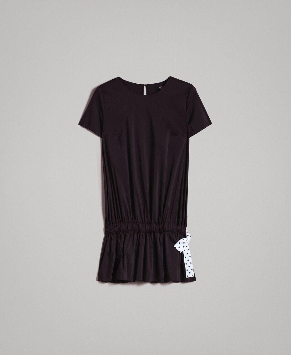 Popeline-Kleid mit Kordelzug Schwarz Frau 191MP2191-0S