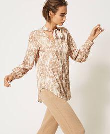 "Animal print satin blouse ""Dune"" Beige Animal Print Woman 202MP243D-03"