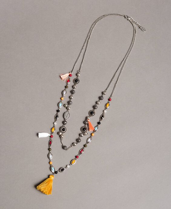 Multi-string necklace with charms and tassels