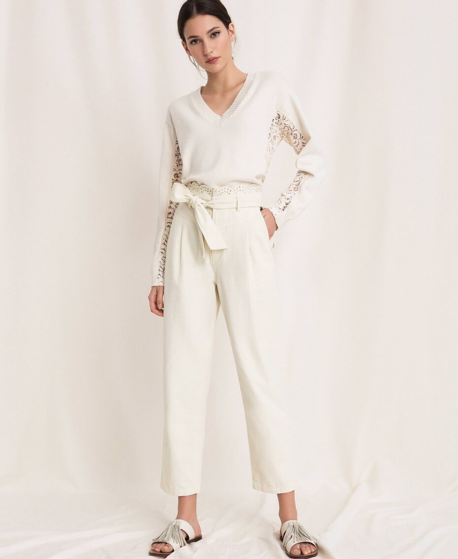 """Canvas trousers with broderie anglaise """"Dune"""" Beige Woman 201TP2015-01"""