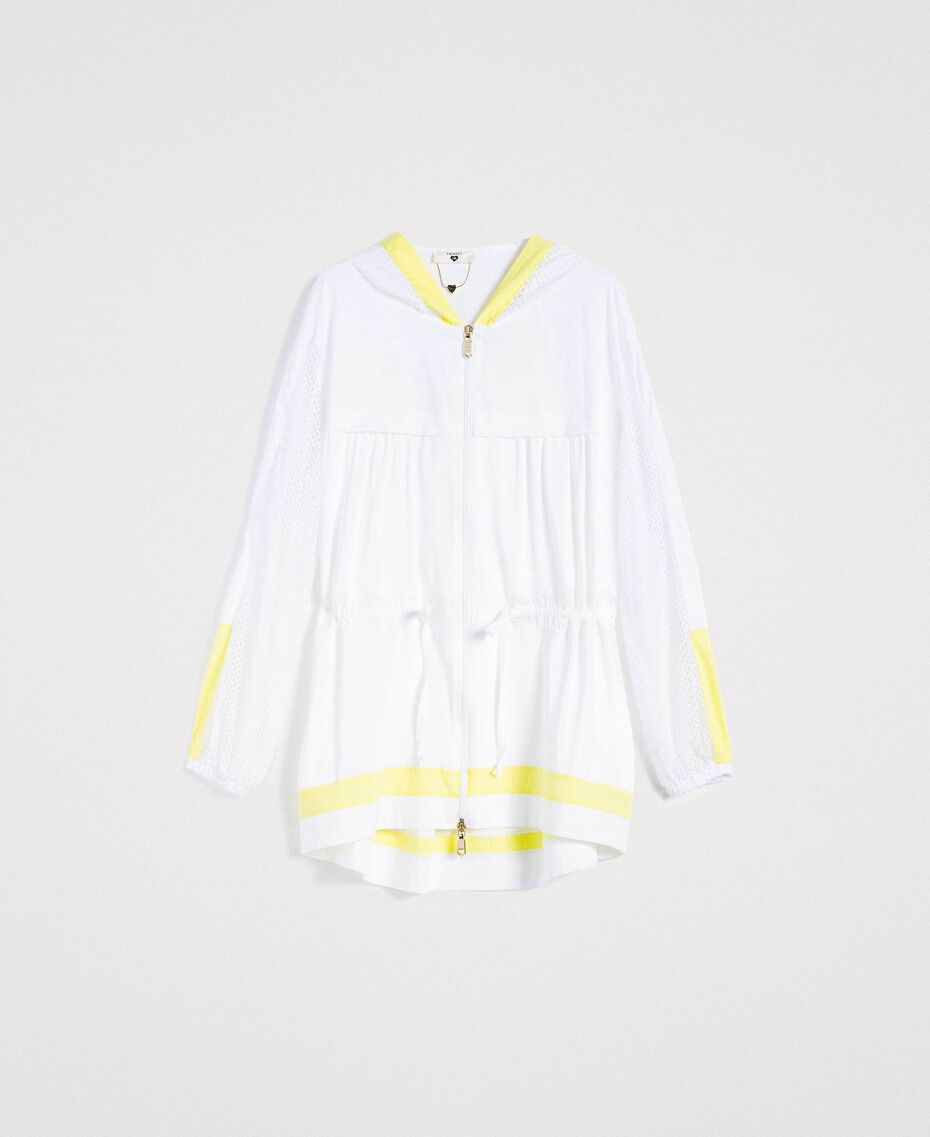 Poplin and mesh parka White Woman 191LL23FF-0S