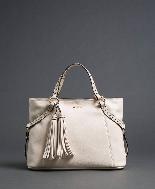 Borsa shopper in similpelle con borchie Bianco Neve Donna 192TO8160-01