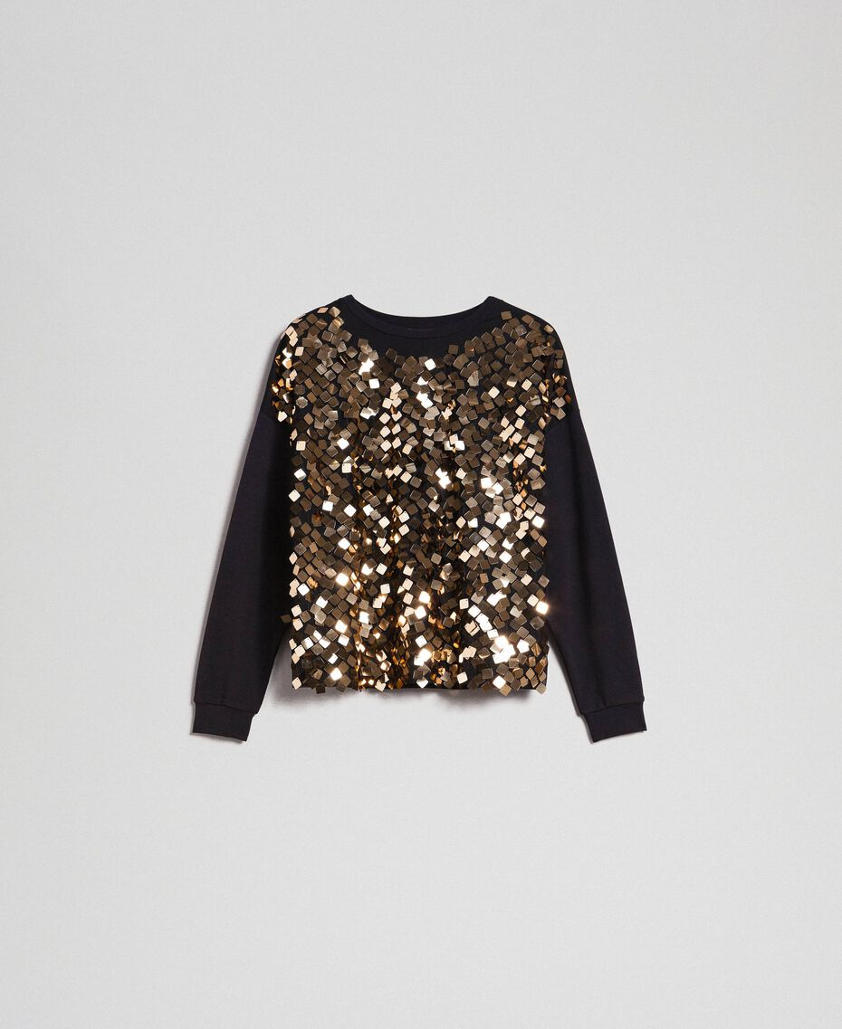 Sweatshirt with full sequin inlay Sequin Embroidery Woman 192ST2212-0S