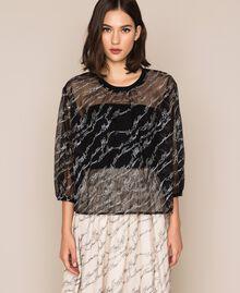 Blouse en tulle avec logo brodé Noir Femme 201ST2043-01