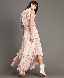 """Jupe longue en georgette à imprimé floral Imprimé Rose """"Bouton De Rose / Peach Mix"""" Femme 191TP2719-01"""