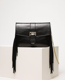 Leather shoulder bag with fringes Black Woman 201TO8142-01