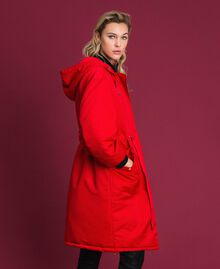 Technical satin padded parka coat Poppy Red Woman 192MP2082-01
