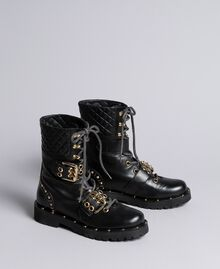 Leather combat boots with double buckle Black Woman CA8PLU-02