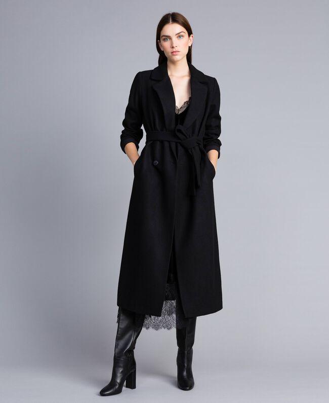 Langer, zweireihiger Mantel aus Tuch Schwarz Frau TA821L-01