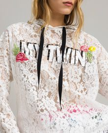Lace maxi sweatshirt with logo and embroideries White Woman 191MT2241-01