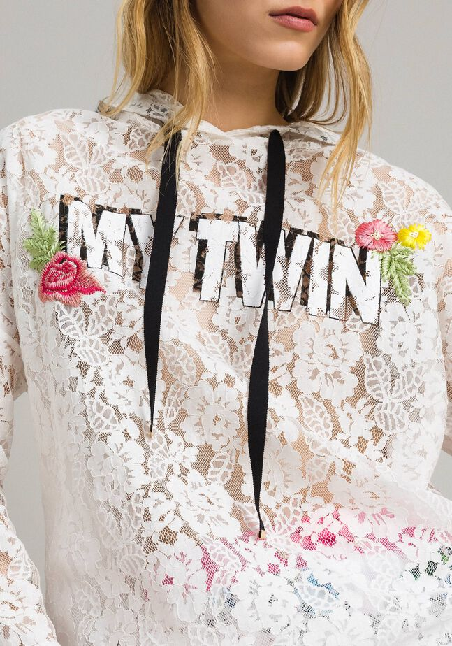 Lace maxi sweatshirt with logo and embroideries