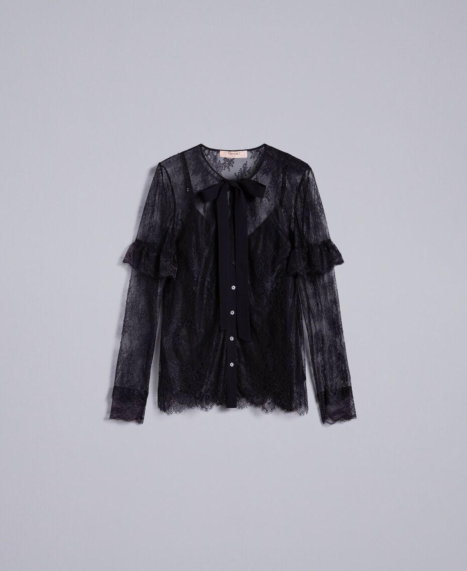 Camicia in pizzo Valencienne multicolor Nero Donna PA82FR-0S
