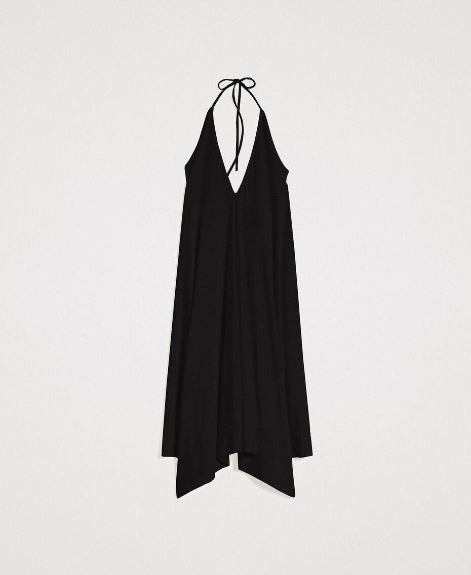 Robe asymétrique en jersey crêpé Noir Femme 191LB22QQ-0S