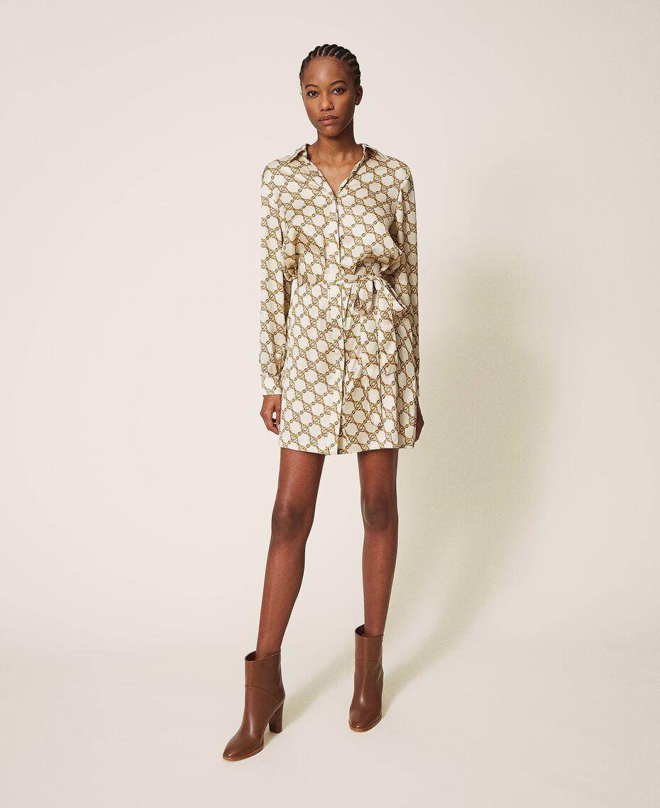 Robe chemisier avec imprimé de chaînes Imprimé Chaîne Ivoire / Or Femme 202TT2210-02